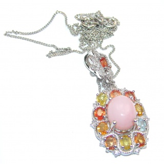 Pink Opal multicolor Sapphire .925 Sterling Silver handmade Necklace