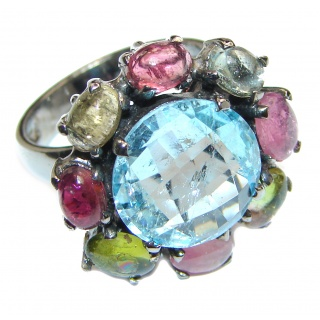 Melissa Genuine Swiss Blue Topaz .925 Sterling Silver handcrafted Statement Ring size 7 3/4