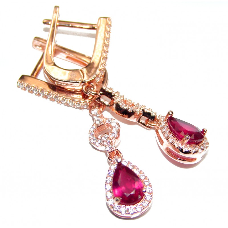 Incredible Authentic Ruby rose gold over .925 Sterling Silver handmade earrings