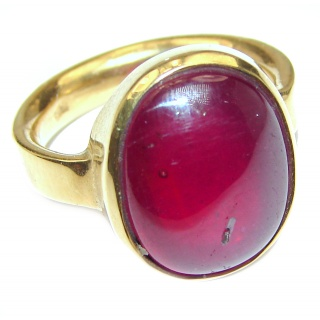 Large Genuine 31ctw Ruby 18K Gold over .925 Sterling Silver handcrafted Statement Ring size 6