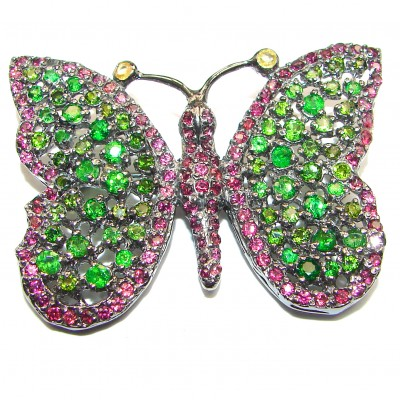 Large Beautiful Butterfly genuine Chrome Diopside .925 Sterling Silver handmade Pendant - Brooch
