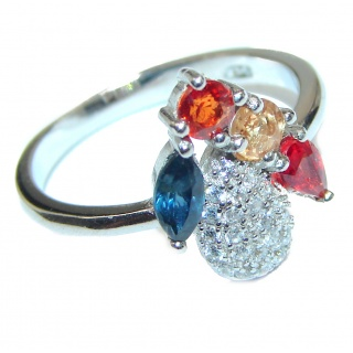 Posh Genuine Multigem .925 Sterling Silver handcrafted Statement Ring size 7