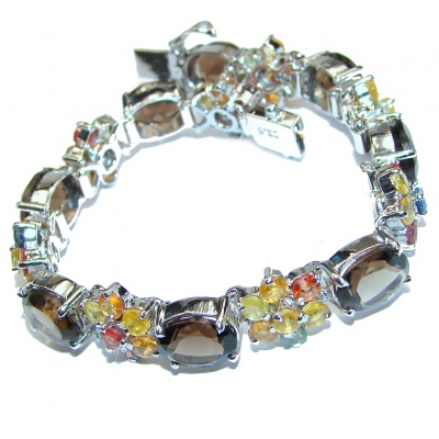 Sands Of Time Brown Smoky Sapphire .925 Sterling Silver handmade Bracelet