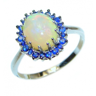Vintage Design 1.2ctw Genuine Ethiopian Opal Sapphire .925 Sterling Silver handmade Ring size 9