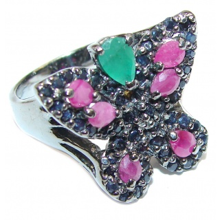 Sublime Butterfly Multigem .925 Sterling Silver handmade Ring s. 7 1/4