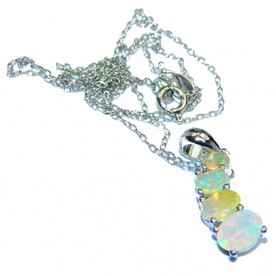 Awesome Natural Pink Opal .925 Silver Enamel Necklace
