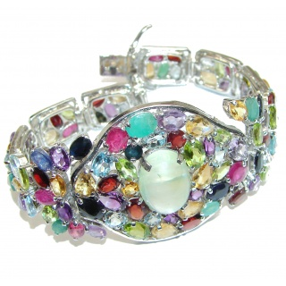 Marie Antoinette's Style authentic Multigem .925 Sterling Silver handcrafted .925 Sterling Silver handmade bracelet