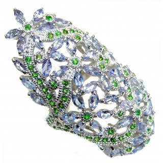 Bouquet of Flowers Authentic Tanzanite Tsavorite Garnet .925 Sterling Silver handmade LARGE Ring s. 9