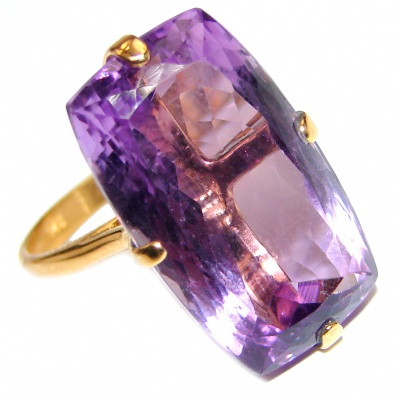 Massive 35ctw Purple Perfection Amethyst .925 Sterling Silver Ring size 8 1/2