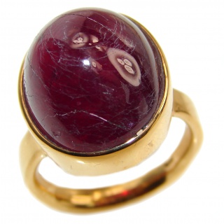 Large Genuine 31ctw Ruby 18K Gold over .925 Sterling Silver handcrafted Statement Ring size 7 1/4