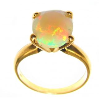 Dazzling natural Ethiopian Opal 18K Gold over .925 Sterling Silver handcrafted ring size 8