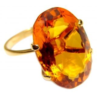 Massive 35ctw Purple Perfection CITRINE 18K Gold over .925 Sterling Silver Ring size 8 1/2