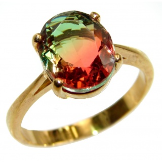 Top Quality Tourmaline 18K Gold over .925 Sterling Silver handcrafted Ring s. 8 1/4