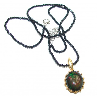 Black Opal 18K Gold over .925 Sterling Silver handmade Necklace