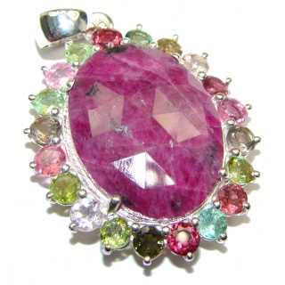 Authentic Kashmir Ruby multicolor Tourmaline .925 Sterling Silver Pendant