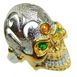 Ghost Rider Ruby Emerald .925 Sterling Silver Ring s. 9
