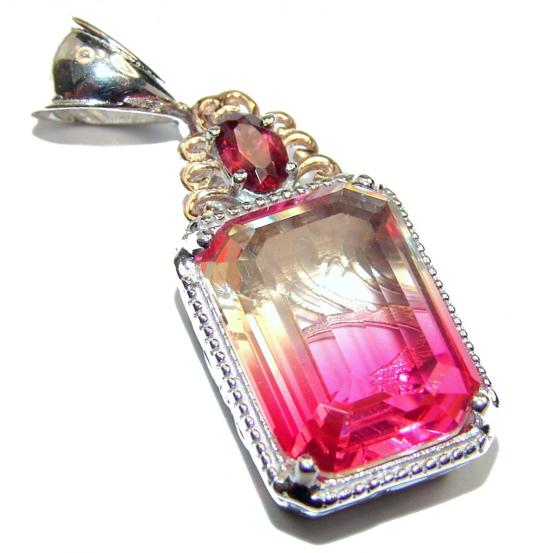 Deluxe Emerald cut Pink Topaz .925 Sterling Silver handmade Pendant