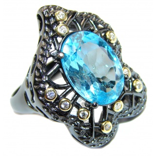 Melissa Genuine Swiss Blue Topaz black rhodium over .925 Sterling Silver handcrafted Statement Ring size 8