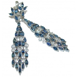 Authentic Sapphire .925 Sterling Silver handcrafted earrings