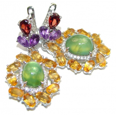 Juicy Authentic Prehnite .925 Sterling Silver handmade earrings