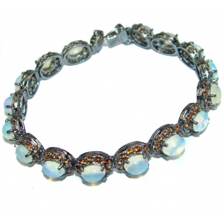 Victorian Style Authentic Ethiopian Opal Sapphire .925 Sterling Silver handcrafted Bracelet