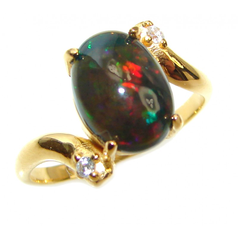 Vintage Design 2.4ctw Genuine Black Opal .925 Sterling Silver handmade Ring size 7 1/2
