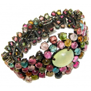 One of the kind Brazilian Watermelon Tourmaline black rhodium over .925 Sterling Silver handmade Bracelet