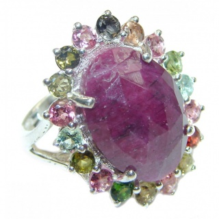 Genuine Ruby 18K Gold .925 Sterling Silver handcrafted Statement Ring size 8 1/4