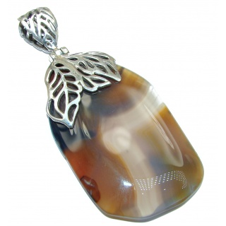 HUGE Perfect quality Agate .925 Sterling Silver handmade Pendant