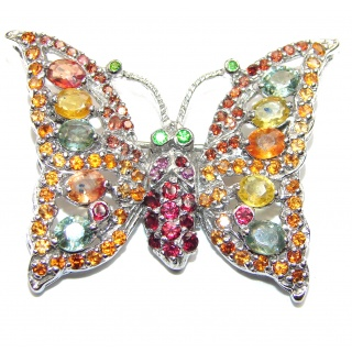 Butterfly authentic multicolor Sapphire .925 Sterling Silver handmade Pendant Brooch