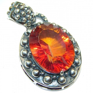 Incredible Vintage Red Topaz .925 Sterling Silver handmade Pendant