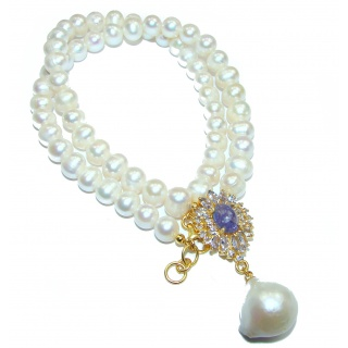 Tsarist heirloom Pearl & Natural Tanzanite 14K Gold over .925 Sterling Silver handmade Necklace
