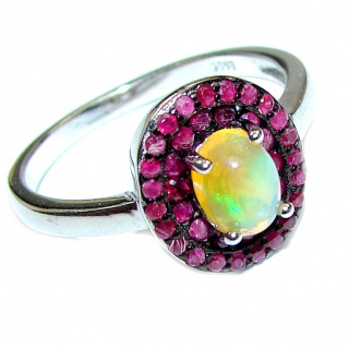 Vintage Design 3.2ctw Genuine Ethiopian Opal .925 Sterling Silver handmade Ring size 8 1/4