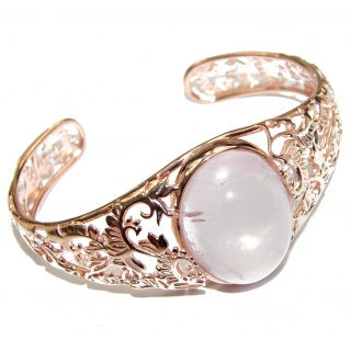 Incredible Genuine 65CTW Rose Quartz Rose quartz .925 Sterling Silver handcrafted Bracelet / Cuff