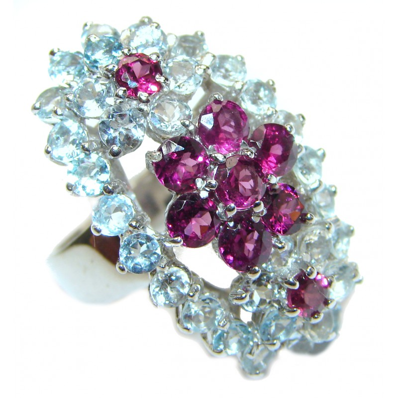 Dazzling natural Red Garnet Swiss Blue Topaz .925 Sterling Silver handcrafted ring size 8 3/4