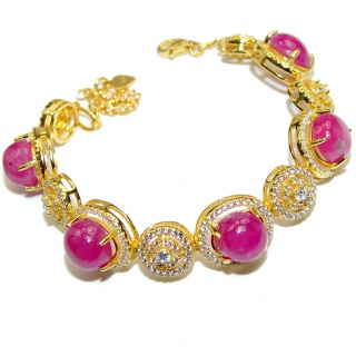 Authentic Spectacular Kashmir Ruby 14k Gold over .925 Sterling Silver handcrafted Bracelet