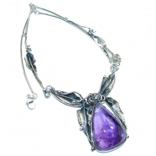 Spectacular Vintage Design genuine African Amethyst .925 Sterling Silver handmade Necklace