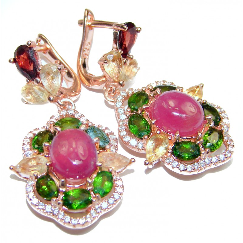 Stunning Authentic Ruby 18K Gold over .925 Sterling Silver handmade earrings