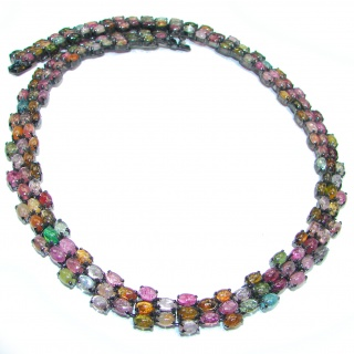 Large 355ctw( total carat weight) Brazilian Watermelon Tourmaline .925 Sterling Silver handcrafted Statement necklace