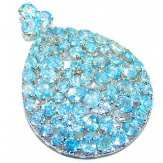 Vintage style Beauty genuine Swiss Blue Topaz .925 Sterling Silver handmade LARGE Pendant - Brooch