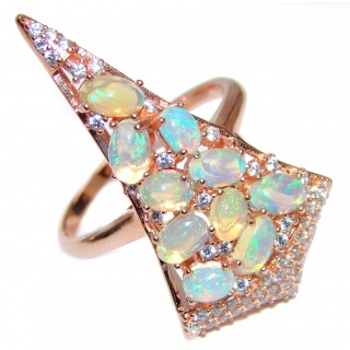Dazzling natural Ethiopian Opal ROSE GOLD over .925 Sterling Silver handcrafted ring size 8