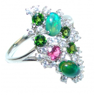 Fancy Chrome Diopside .925 Sterling Silver handcrafted ring size 9