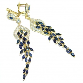 Dazzling natural Precious Sapphire 14k Gold over .925 handcrafted earrings