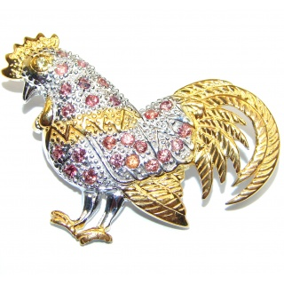 Rooster authentic RUBY .925 Sterling Silver handmade Pendant Brooch