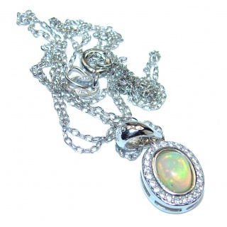 Ethiopian Fire Opal .925 Sterling Silver handmade Necklace