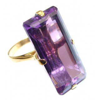 45CTW Baguette cut Amethyst 18K Gold over .925 Sterling Silver Ring size 8 1/4
