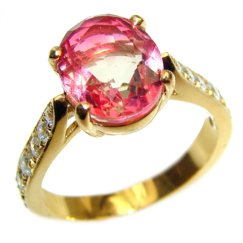 Top Quality Tourmaline 18K Gold over .925 Sterling Silver handcrafted Ring s. 8 3/4