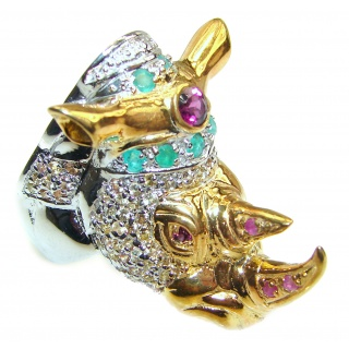 Jumbo Ruby Emerald Golden Rhino .925 Sterling Silver Ring s. 8