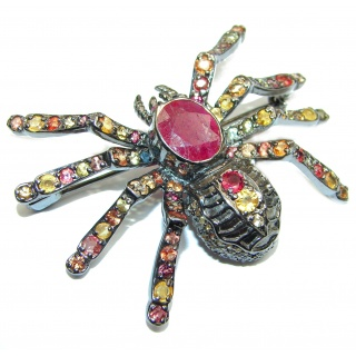 Large Spider genuine Kashmir Ruby Sapphire .925 Sterling Silver handmade Pendant - Brooch