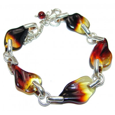 Beautiful authentic Baltic Amber .925 Sterling Silver handcrafted Bracelet